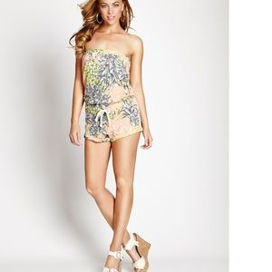 GUESS Strapless Active Floral Printed Romper